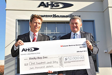 2012 donation of $152,000 to the Rocky Bay Foundation raised at the AHG Golf Day.